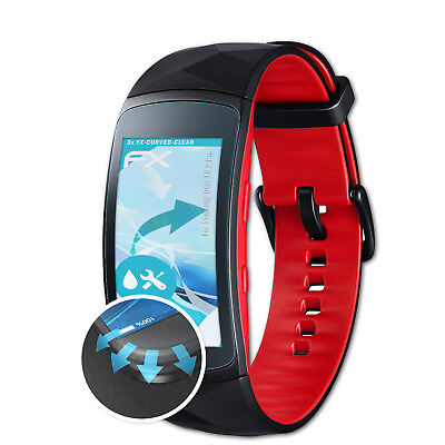3x FX-Curved-Clear Schutzfolie Samsung Gear Fit 2 Pro Displayfolie Folie