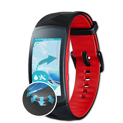atFoliX 3x Schutzfolie Samsung Gear Fit 2 Pro Displayfolie FX-Curved-Clear Folie