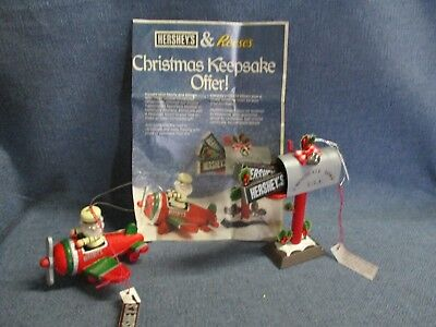 Hershey's Reese's Chocolate Christmas Ornaments Elf in Airplane & Mailbox 1988