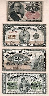 Dominion of Canada Shinplaster 25c notes: 1870, 1900, 1923 + Bonus USA 1874 25c