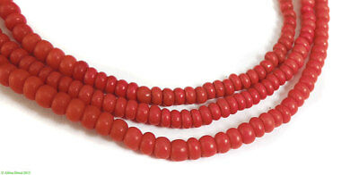 3 Strands Vintage Seed Trade Beads Red African