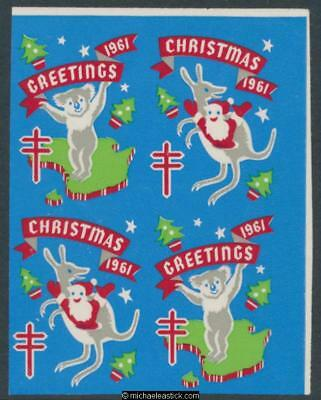 1961 Imperf blk of 4 Chistmas & Greetings seal