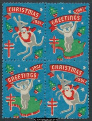 1961 Block of 4 Christmas & Greetings, Koala and Kangaroo Anti TB Christmas seal