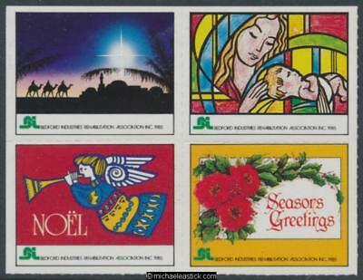 1985 Rouletted block of 4, Christmas seal, Bedford Industries