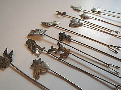 1960s Era Set of 12 Taxco Mexico Sterling Silver Hors D'Oeuvres Appetizer Forks
