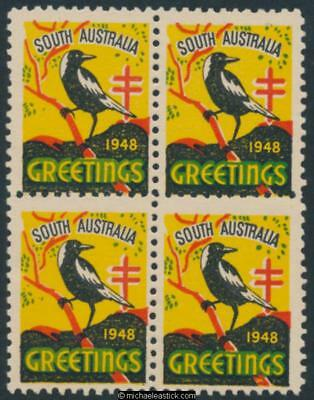 1948 Block of 4, South Australia Greetings with Magpie, Anti TB Christmas seal