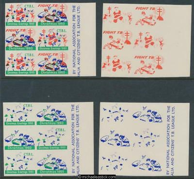 1960 Imperf proof set of 5 sheets, block of 6 Christmas seals