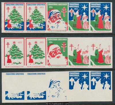 1953 Imperf Proof set strip of 5 Christmas seals, Anti TB, Christmas Greetings
