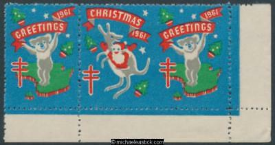 1961 Strip of 3 Christmas & Greetings, Koala and Kangaroo Anti TB Christmas seal