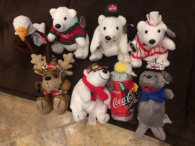 Coca Cola Collectible Plush Beanie 8 total With rare Eagle Included