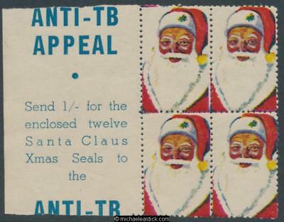 1950s Block of 4, Anti TB Appeal Santa Claus Christmas seal
