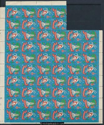 1961 Sheet of 56 Christmas seals - 4 missing, Christmas Greetings Anti TB