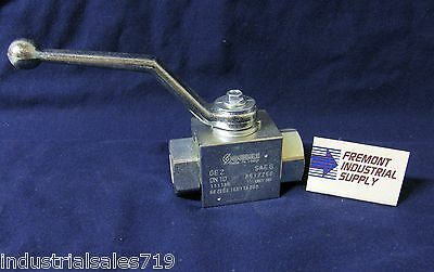 "High pressure Hydraulic Ball Valve 2 way 1/4"" NPT ports 7250 PSI Italian import"