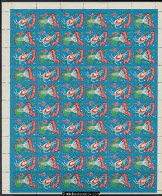 1961 Full sheet of 60 Christmas seals, Christmas Greetings, Anti TB