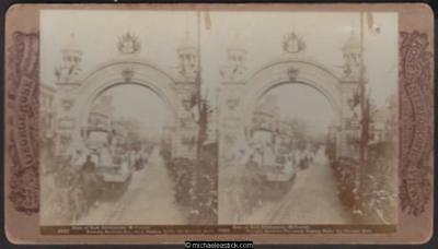 1901 George Rose Stereo Card #2923 of Duke of York Celebrations, Melbourne