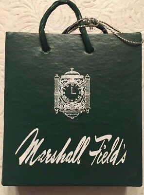 """Marshall Fields Green With White Shopping Bag Ornament~ 3.5"""" Tall 3"""" Wide"""