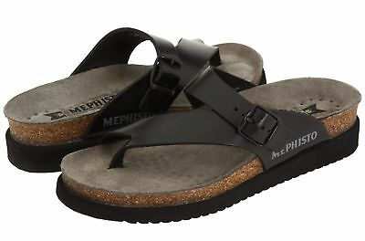 edbd38bb306f MEPHISTO HELEN PERF Black Womens Nubuck Open-back Toe-post Thong ...