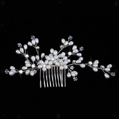 Wedding Crystal Pearls Hair Comb Headpieces Hair Jewelry Accessories