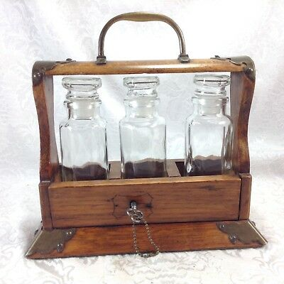 Antique 3 Bottle Tantalus Locking Liquor Box Cordial Decanter Bottles Brass