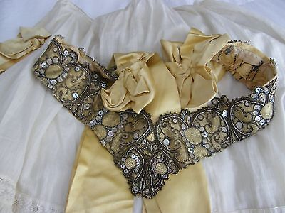 Exquisite Victorian Ball Gown Belt French Steel Cut Beads Mother 0f Pearl 1888