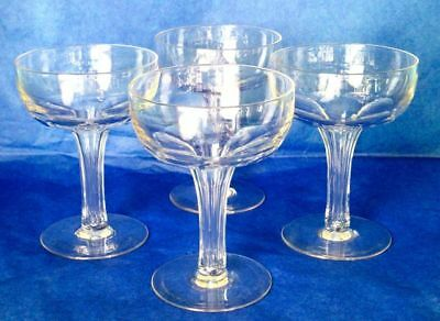 "THOMAS WEBB Art Deco Set of 4 Hand Blown Crystal Pan Champagne 4.5"" Glasses"