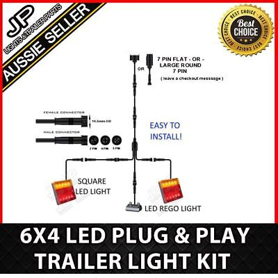 6x4 TRAILER LED WIRE KIT EASY TO INSTALL PLUG AND PLAY WIRING SQUARE DIY HARNESS