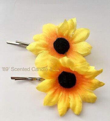 2 x Sunflower 🌻 Hair Clips Silk Artificial Fake Flower Accessories Country