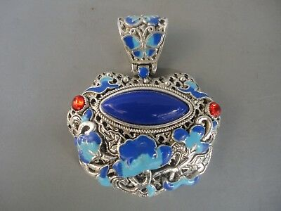 Collect Old China Tibet Silver Handmade Bake Paint Flower Mosaic Jewelry Pendant