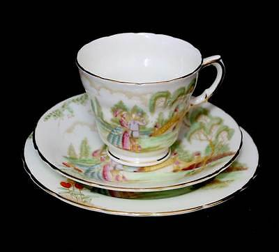 Vintage 1930s Sutherland ROMANCE crinoline lady lovers trio teacup set.