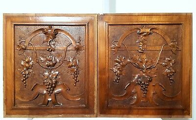 CARVED WOOD PANEL PAIR ANTIQUE FRENCH GRAPPES VINE ARCHITECTURAL SALVAGE 19th