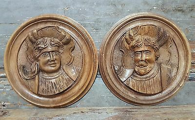 CARVED WOOD PANEL MATCHED PAIR ANTIQUE FRENCH ROI FRANCOIS 1er SALVAGED ORNAMENT