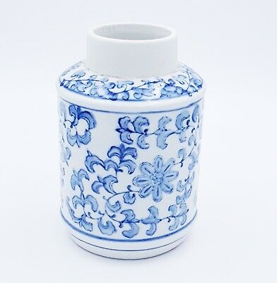 Chinese Porcelain Pot Caddy Jar Vase Blue & White Floral Motif
