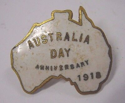 WW1 Home Front Australia Day Anniversary 1918 Enamel Badge Pin