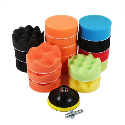 "19PCS 3"" 80mm Sponge Buff Buffing Polishing Pad Kit Set For Auto Car Polisher"