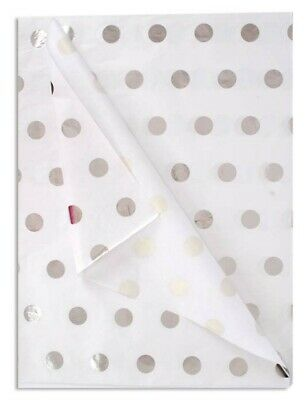 Silver Dots Patterned ~ Acid Free Tissue Paper Sheets 35x45cm