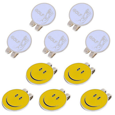 10 Pieces Golfer Smiling Face Magnetic Visor Clip Golf Ball Markers Gifts