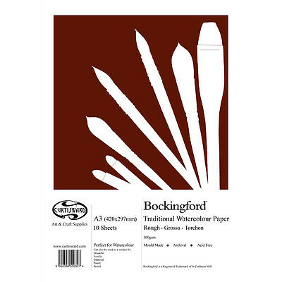 A3 Curtisward Bockingford Rough Watercolour Paper Pad. For Artists Water Colour