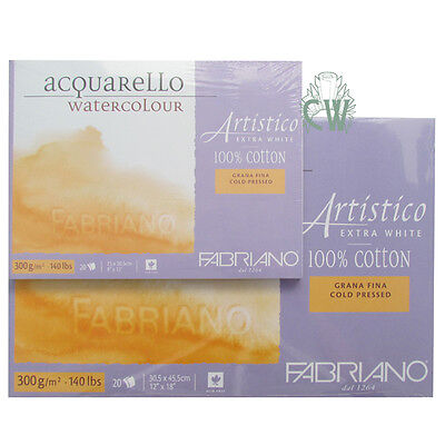 """Fabriano Artistico Watercolour Paper Extra White BLOCK 12""""x18"""" NOT Surface"""
