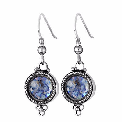 Handmade 925 Sterling Silver Roman Glass Authentic Earrings Unique Round Design