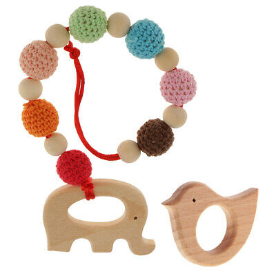 2Pcs Natural Wood Teether Baby Teething DIY Bird Ring Elephant Bracelet Toys