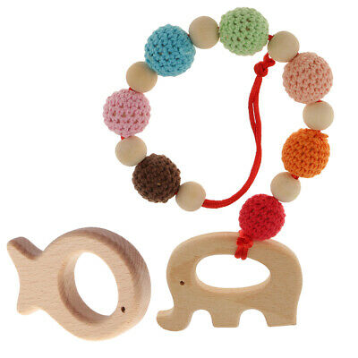 2Pcs Natural Wood Teether Baby Teething DIY Fish Ring Elephant Bracelet Toys
