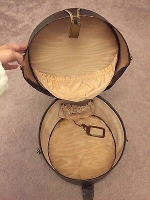 Vintage hat box old luggage round suitcase sturdy early 20th century travel gear