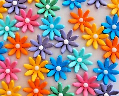 Gorgeous Edible Coloured Flowers CUPCAKE TOPPERS Birthday Cake Sugar Decorations