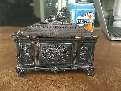 Antique French Silver SP Figural Cherub Jewelry Casket Paris