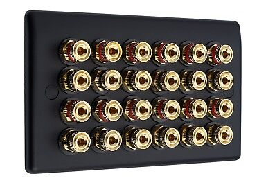 12.0 Matt Black Audio Speaker Wall Face Plate 24 Gold Binding Posts Non-solder