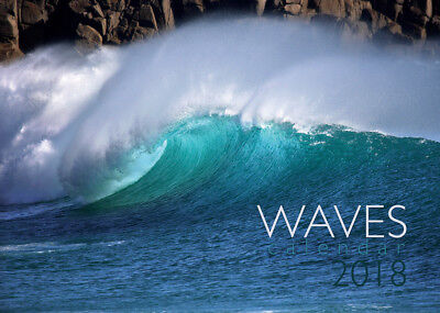 Waves Calendar 2018 - Cornish surfing & storms. A4, spiral bound, wall hanging