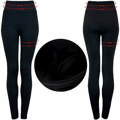 Ladies Women's High Waisted Fleece Lined Slimming Control Warm Shaper Leggings