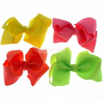 Ladies Girls Womens Kids Neon Colour 9cm Hair Bow Clip Grip Yellow Orange Green