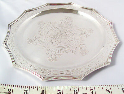 18 Ozs. Sanborns Mexican Sterling Silver Hammered Tray Aztec Scroll Work&florals