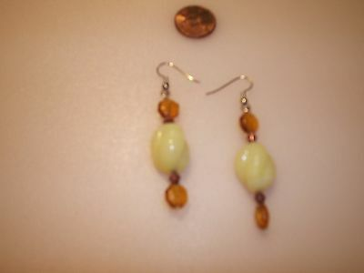 """Yellow and Amber Glass Beads Hook Earrings, Hand Made with Vintage Beads, 2 1/2"""""""